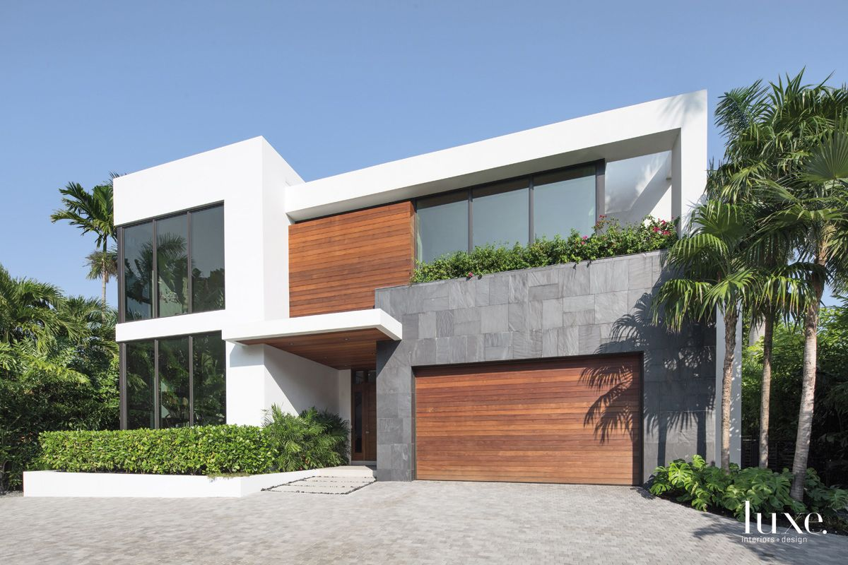 Modern White Front Elevation with Ipe Plank Detail