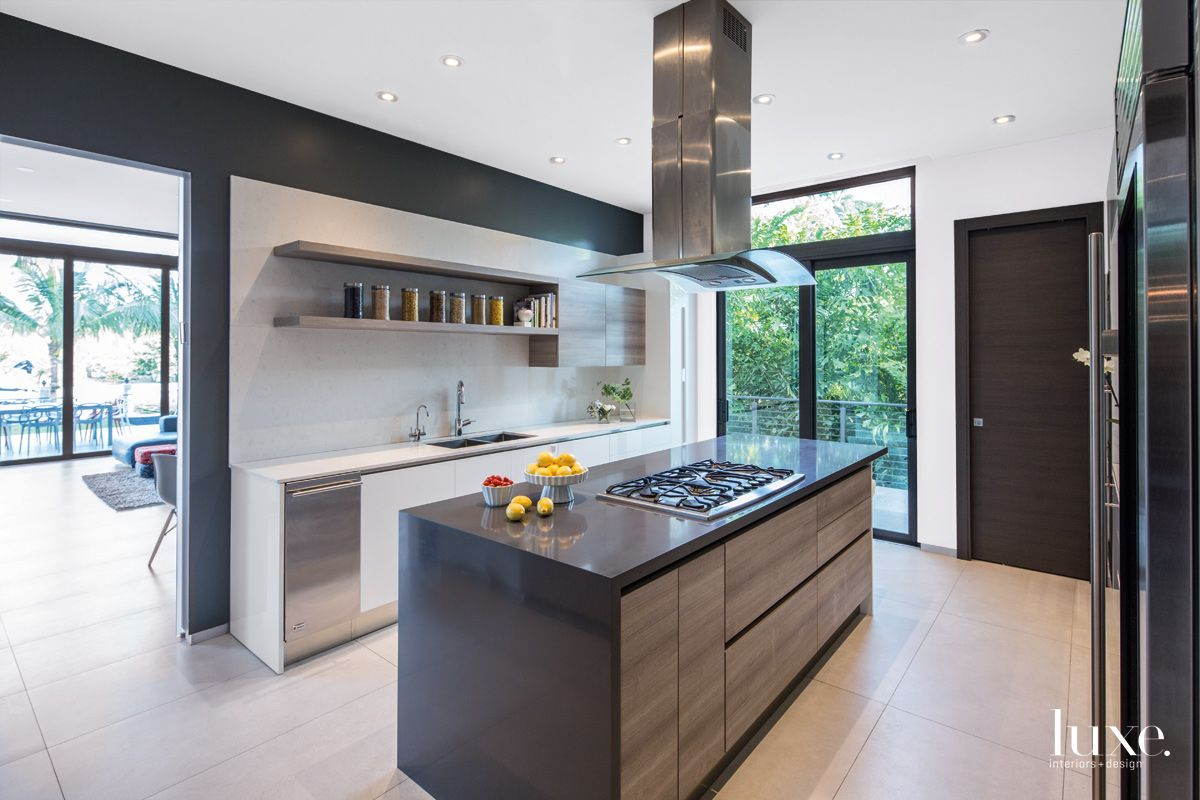 Modern Black Kitchen with Driftwood-Hued Cabinetry