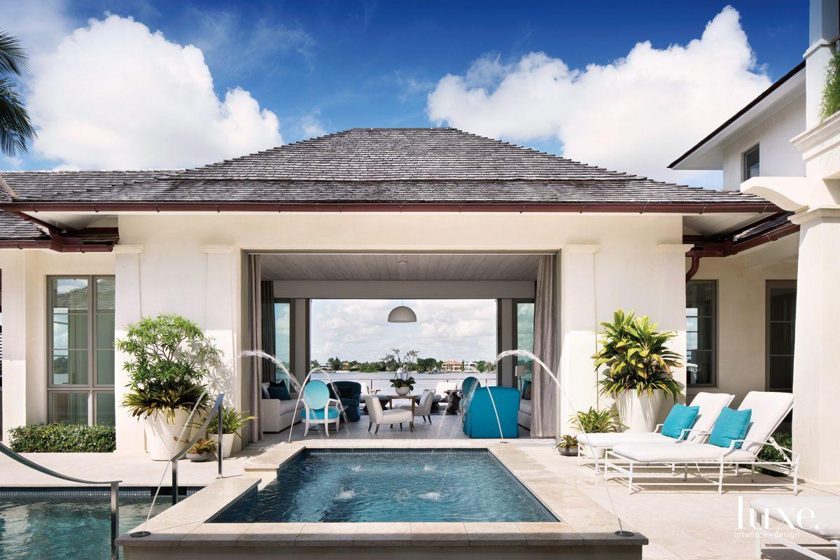 Modern White Courtyard with Hot Tub