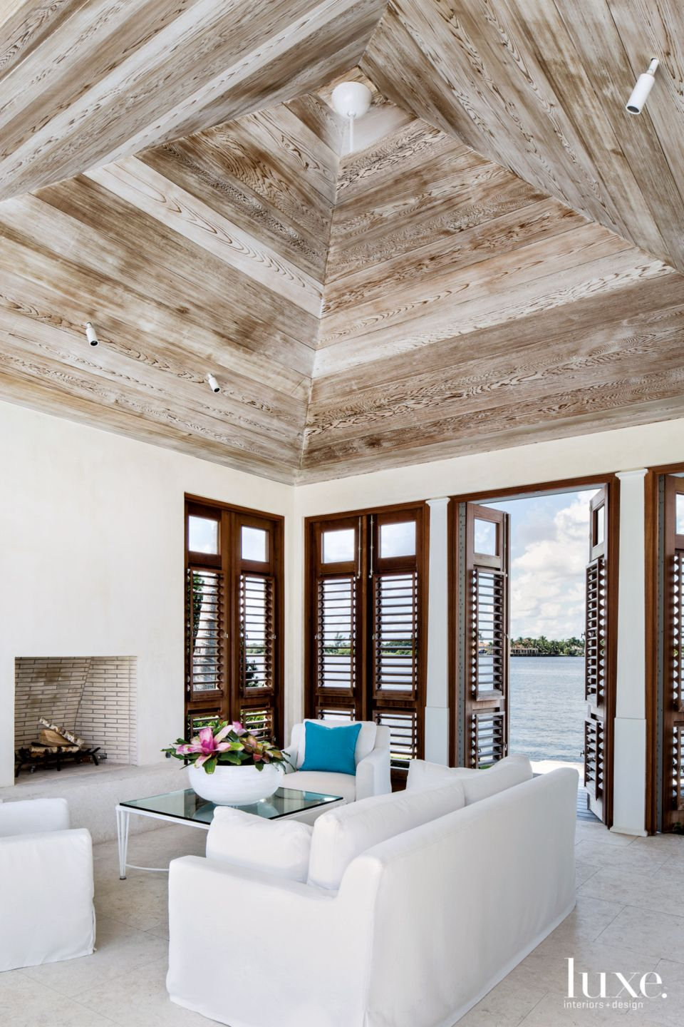 Modern White Pavilion with Lime-Washed Red Cedar Ceiling