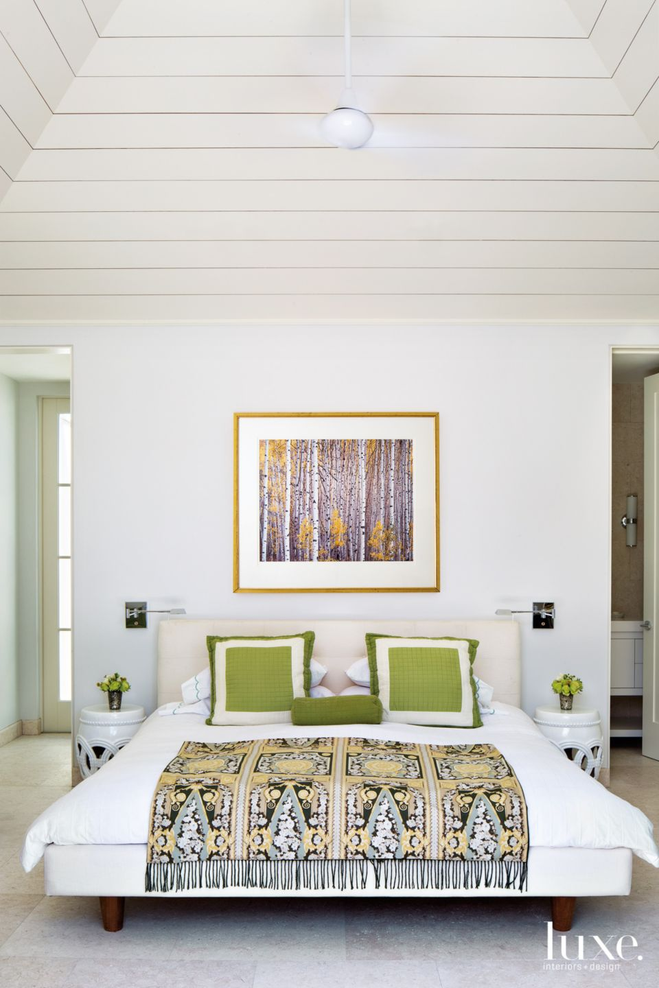 Modern White Guest Bedroom with Green Accents