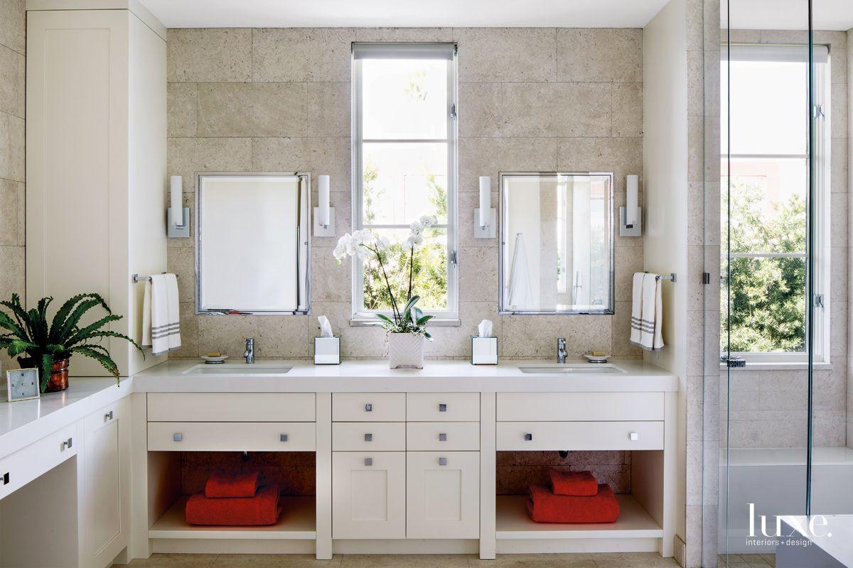 Modern Neutral Master Bathroom with Stone Wall Backsplash