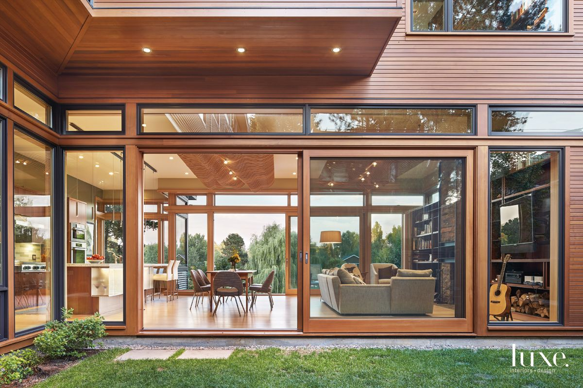 Modern Neutral Aluminum-Clad Douglas-Fir Windows with Interior View