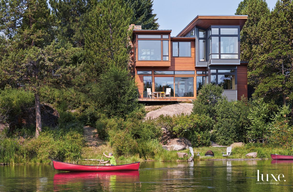 Modern Red Oak Exterior with Riverfront Views