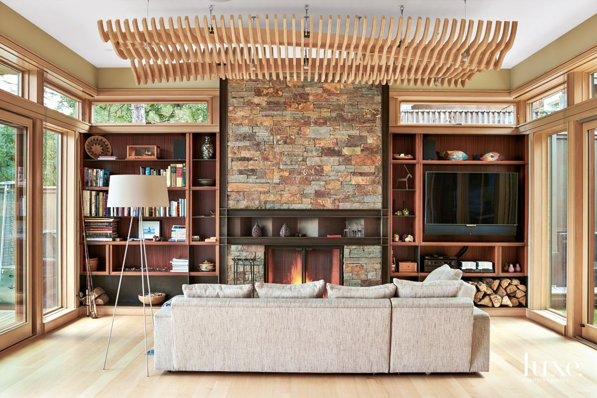 Modern Neutral Living Room with Wood Slat Ceiling Element