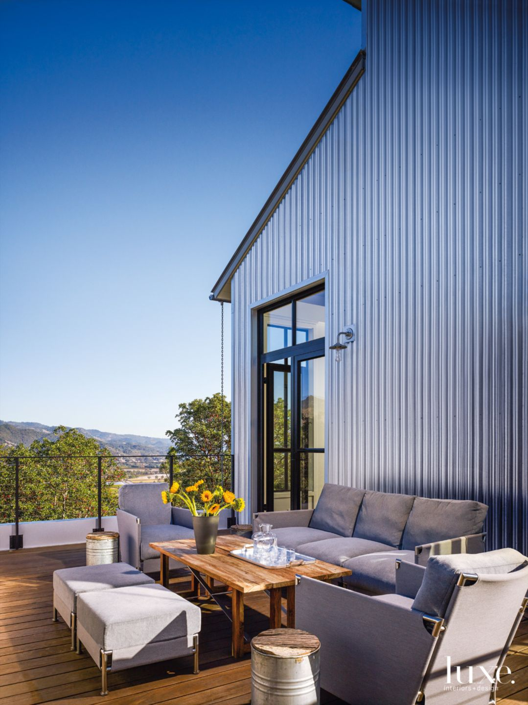 Modern Silver Terrace with Gray Upholstered Seating
