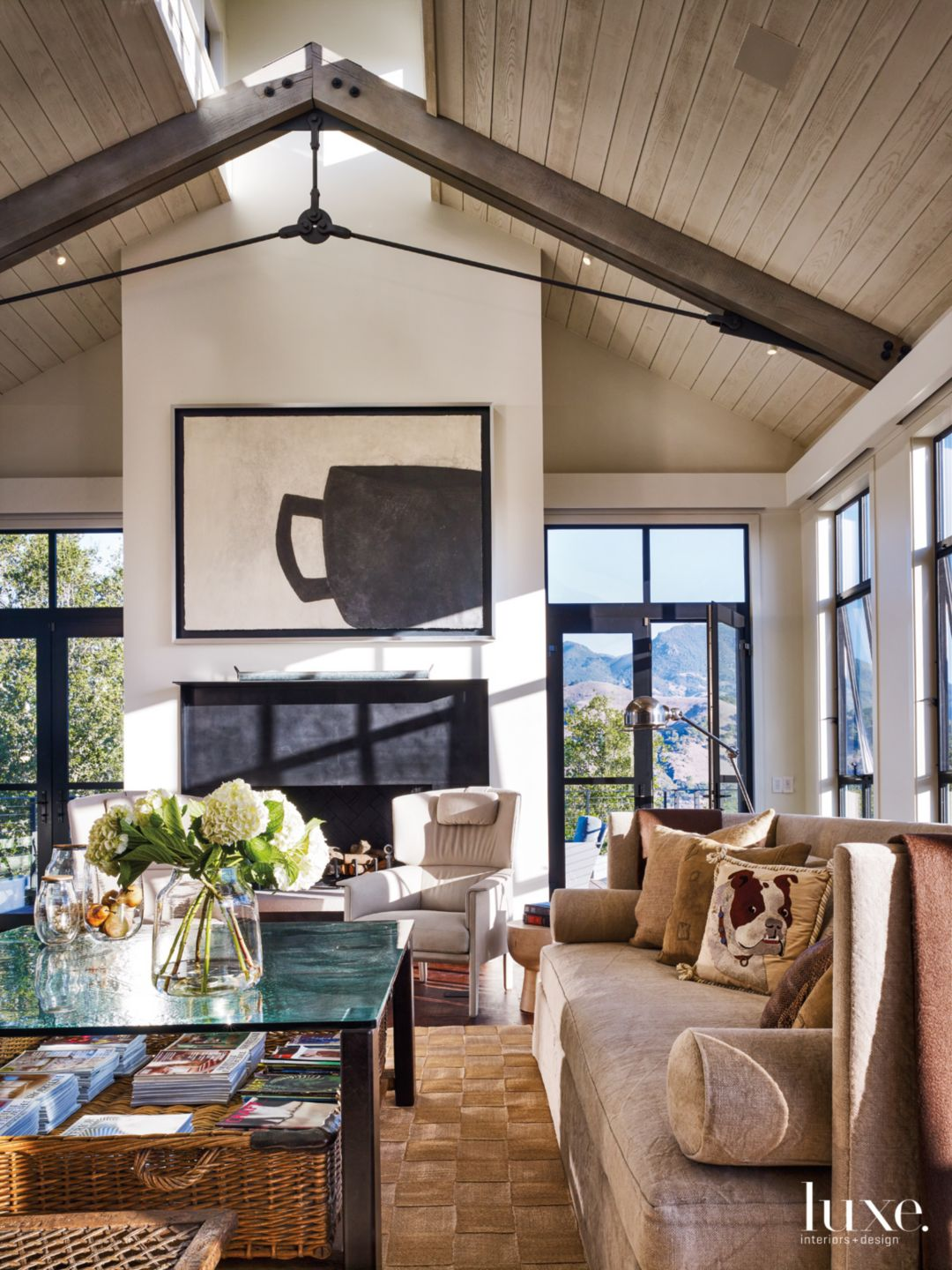Modern Neutral Living Room with Steel Trusses