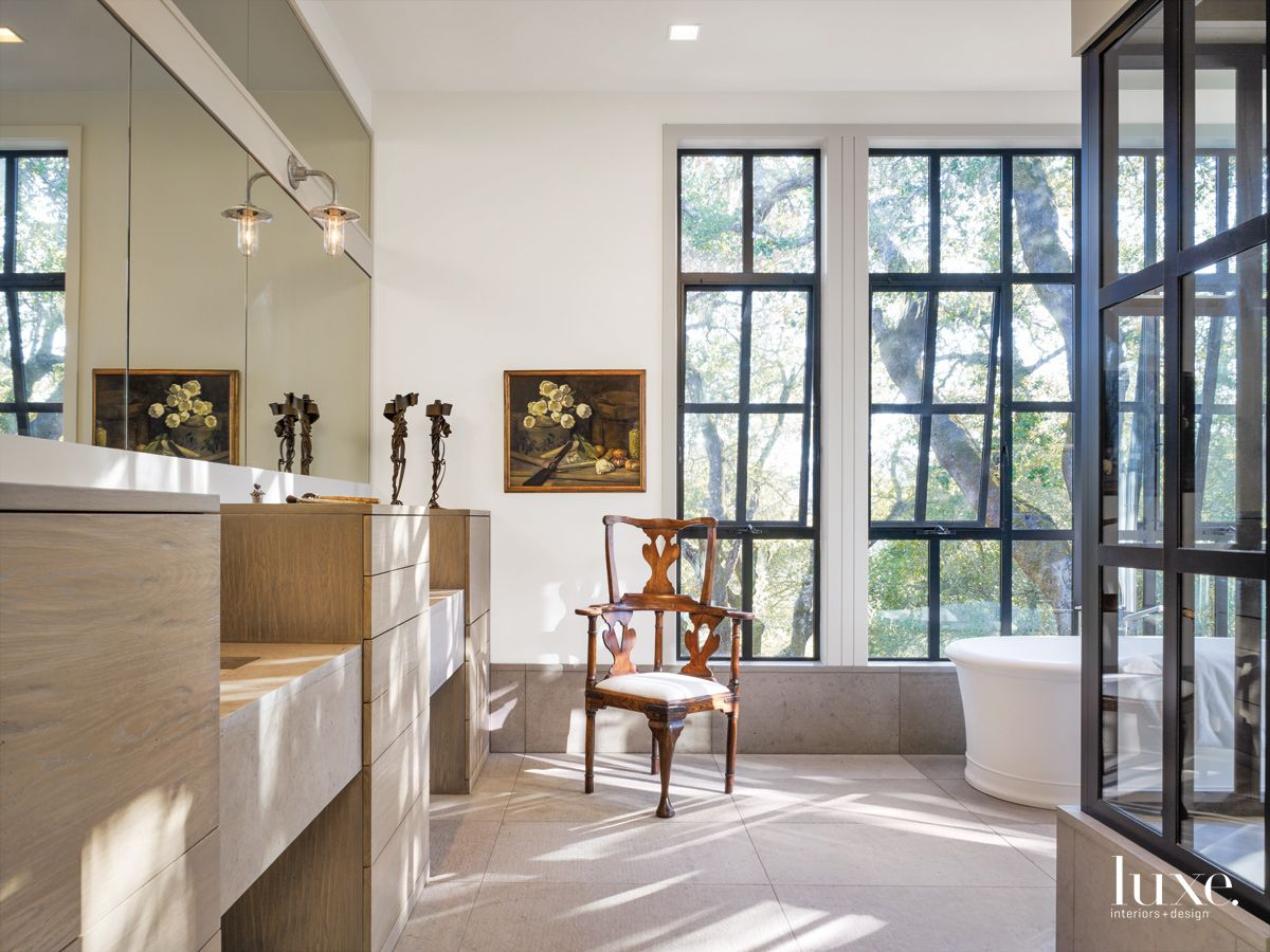 Modern White Bathroom with Streamlined Oak Cabinetry