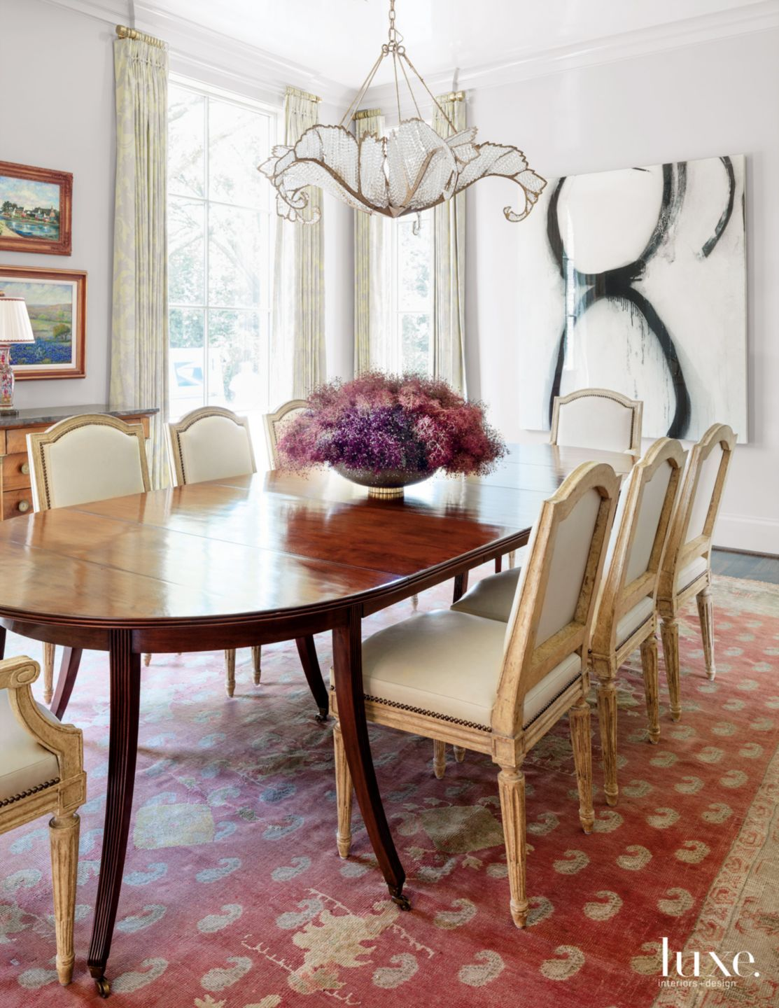 Transitional White Dining Room with Mixed-Media Artwork
