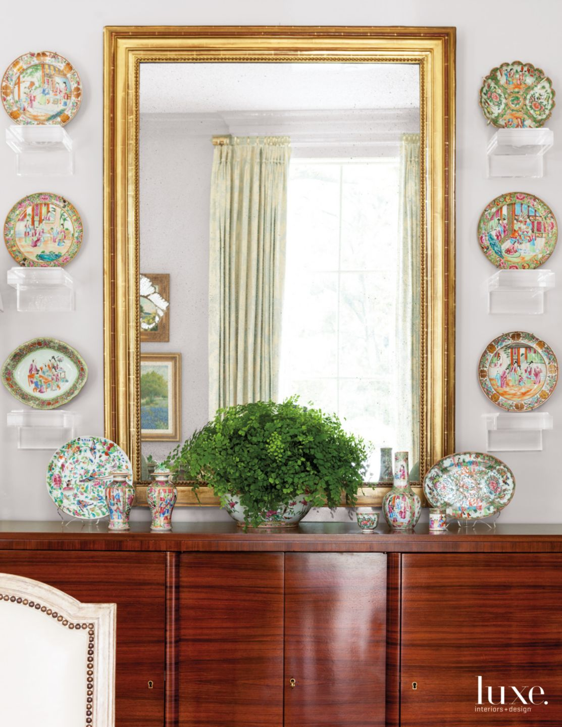 Transitional White Dining Room Vignette with Decorative Plates