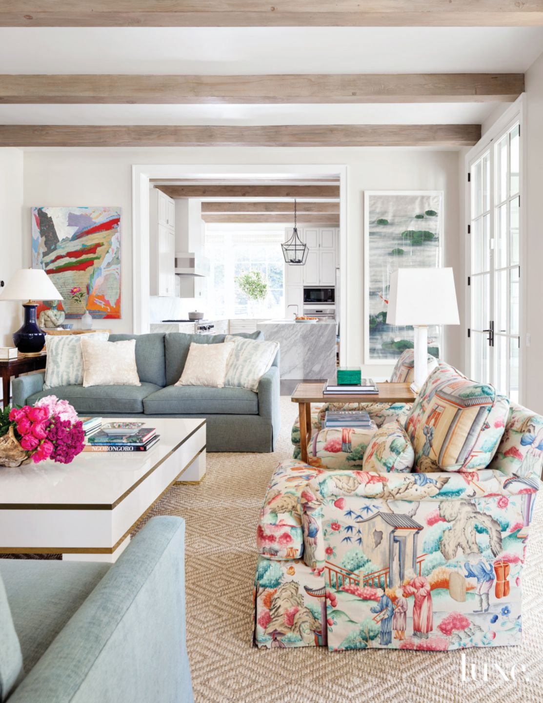Transitional White Living Room with Chinoiserie Fabric Armchairs