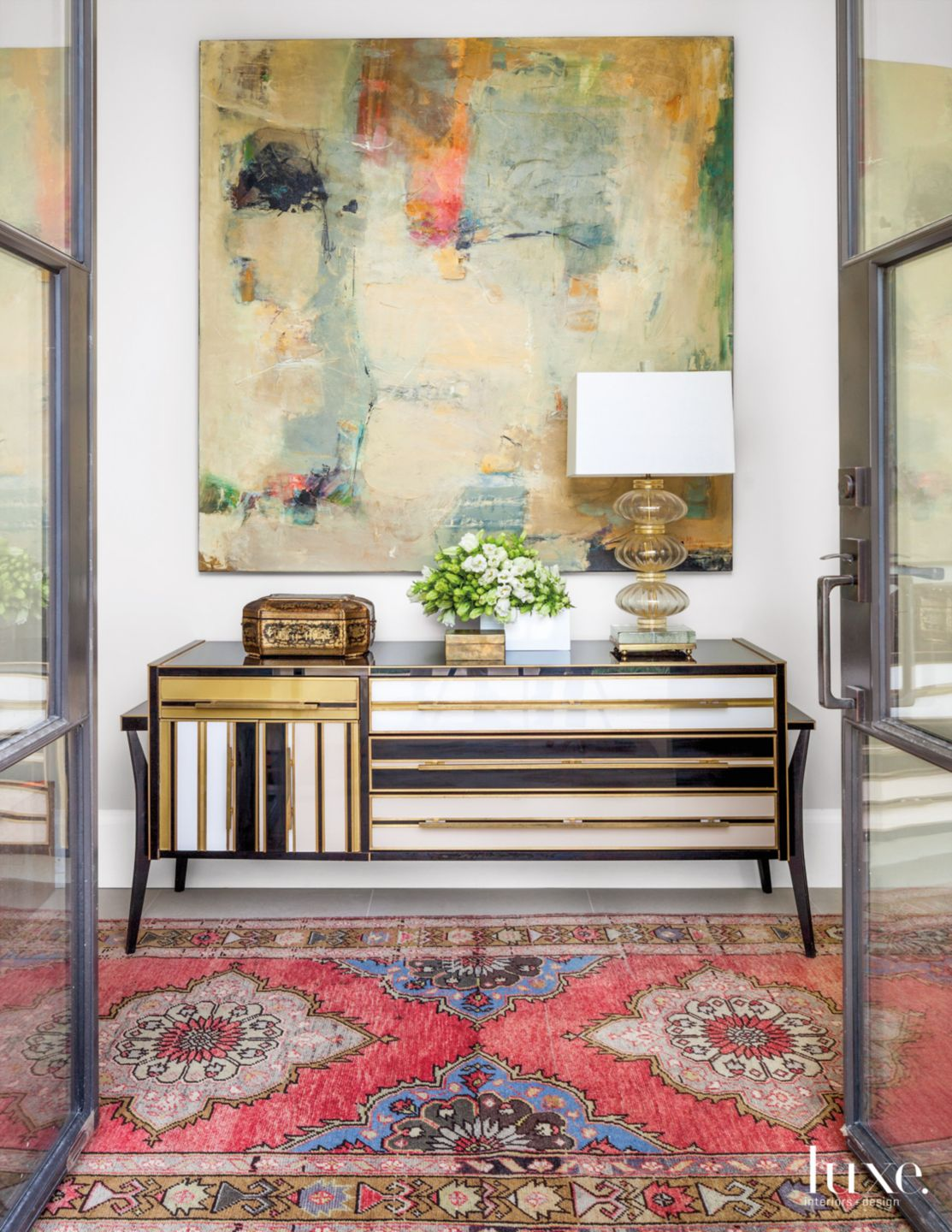 Transitional White Entry with Italian Art Deco Console