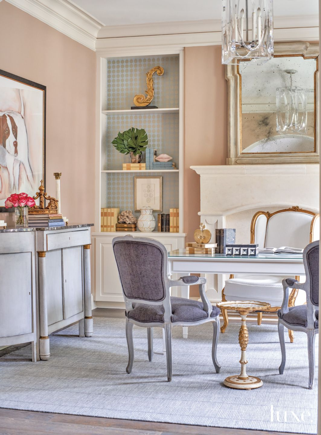 Transitional Pink Office with Vintage Purple Chairs