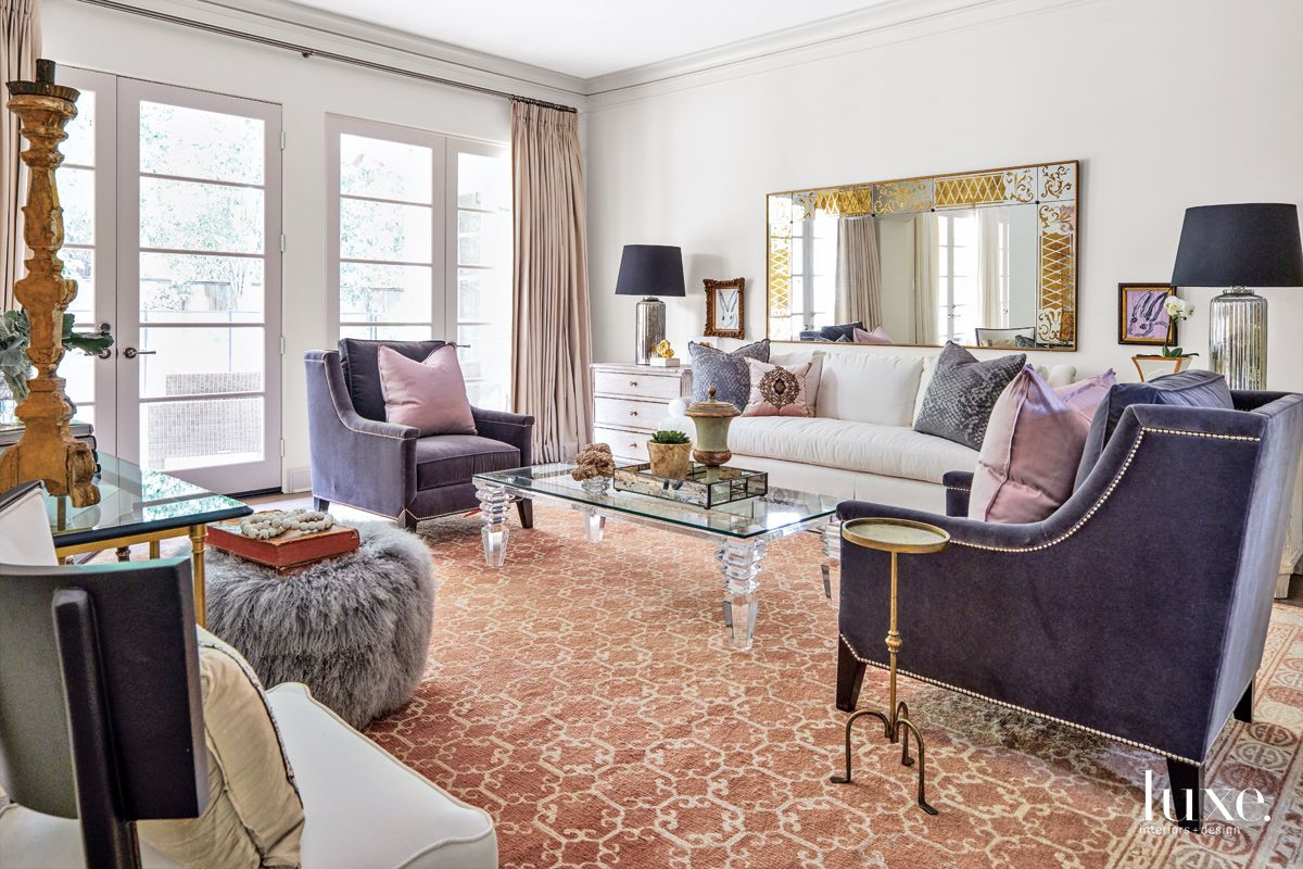 Transitional White Living Room with Coral Carpet