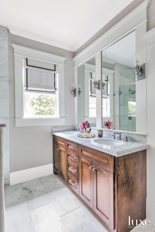 Eclectic Gray Bathroom with Carrara Marble Flooring