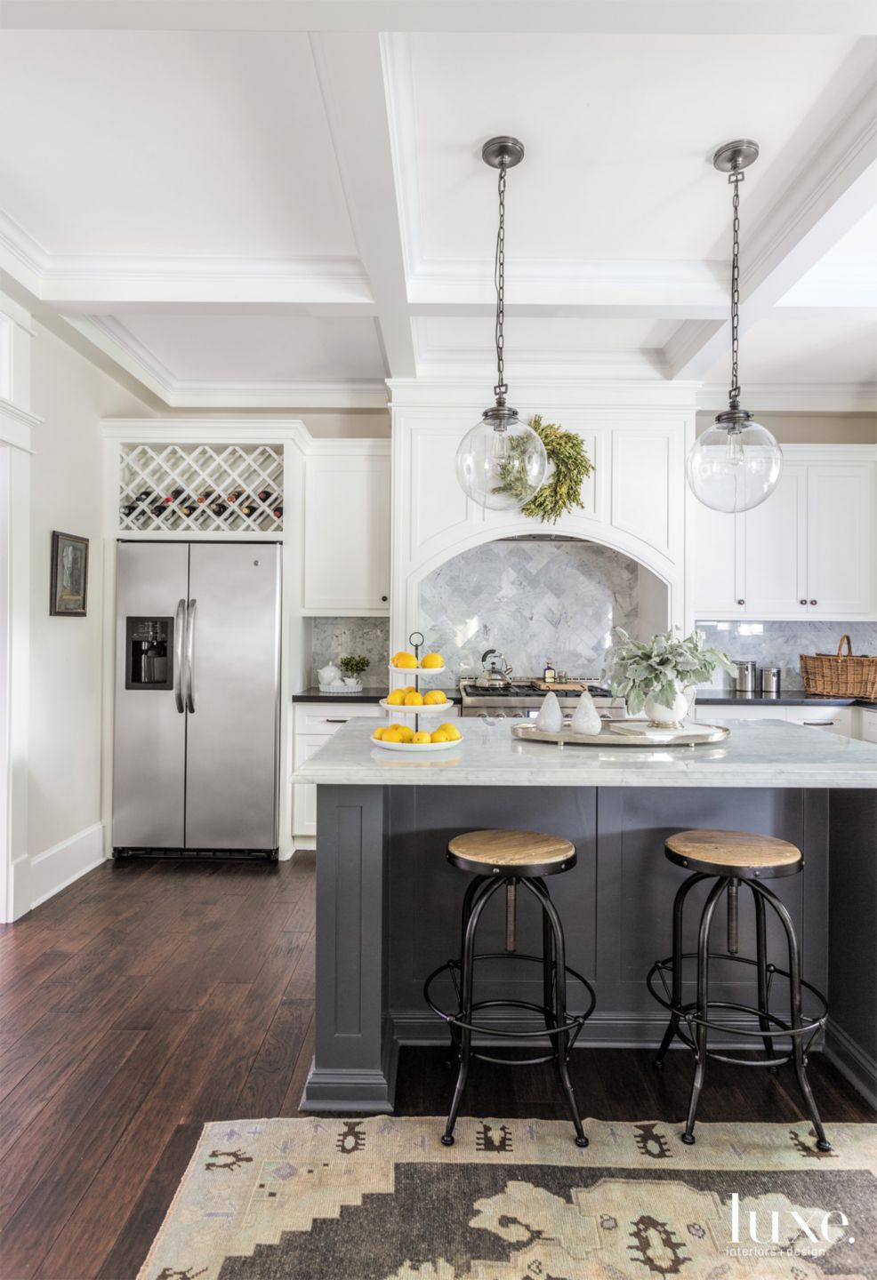Eclectic White Kitchen with Traditional Cabinetry