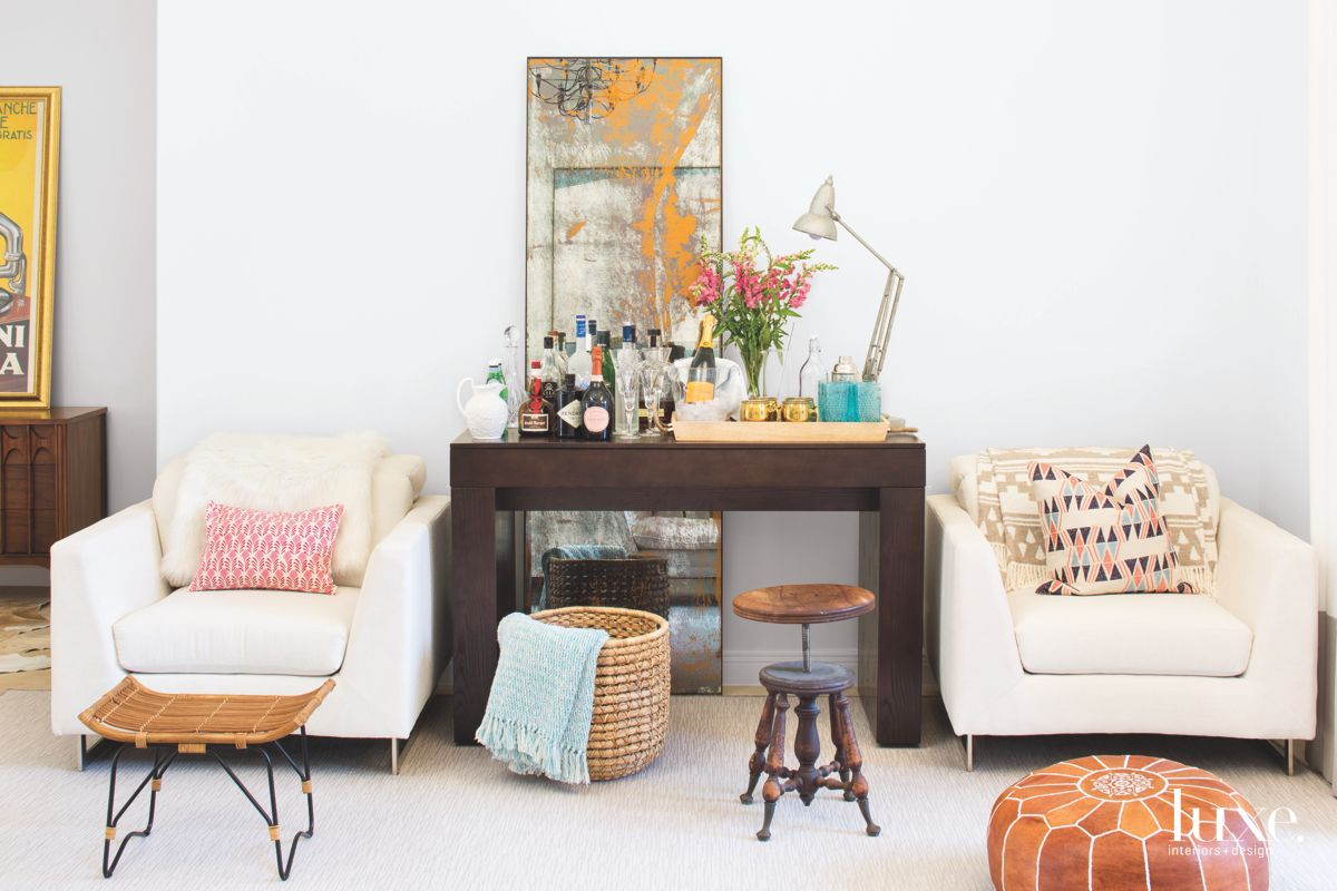 Wet Bar with Old School Stool and Textured Mirror