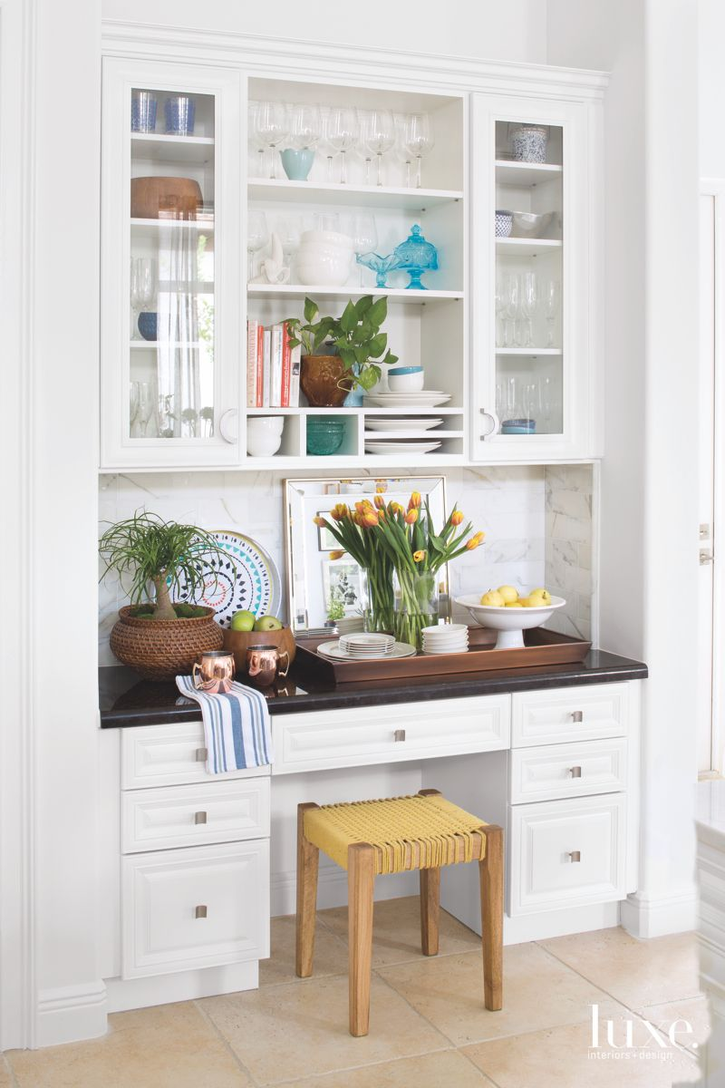 Kitchen Cabinet Storage with Stool and Desk