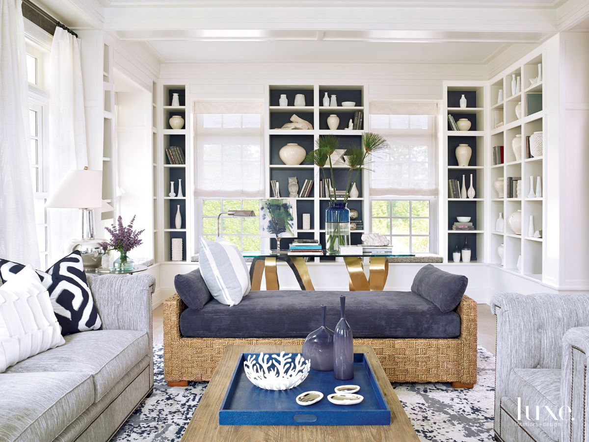 Modern White Library with Upholstered Chaise