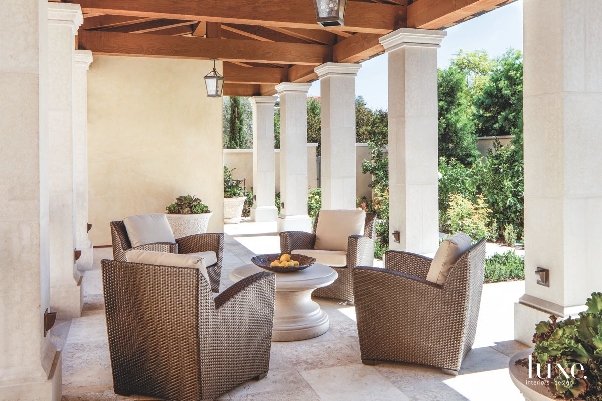 Intimate Loggia with Pillars and Seating