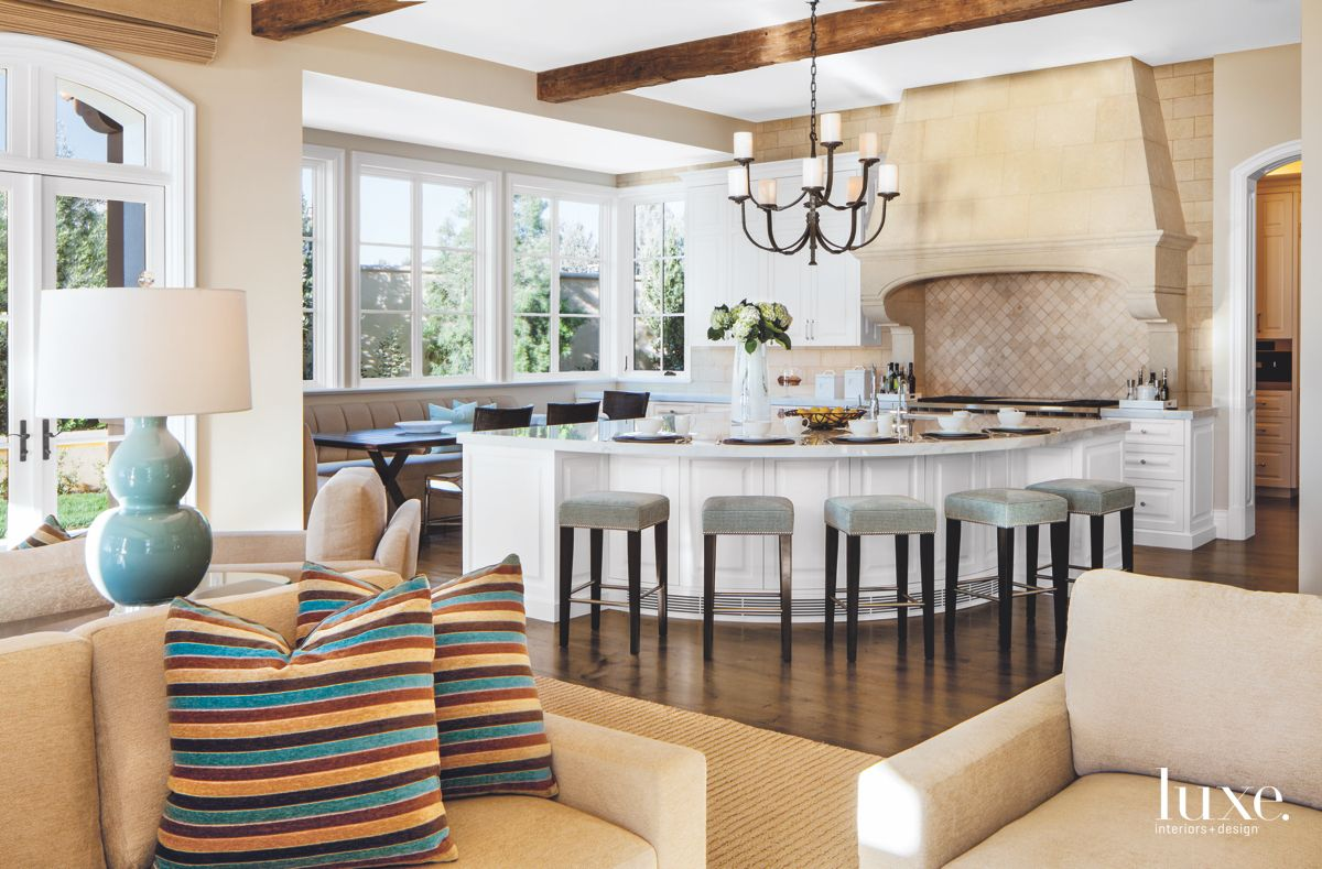 A Family Room that Flows into an Adjacent Kitchen