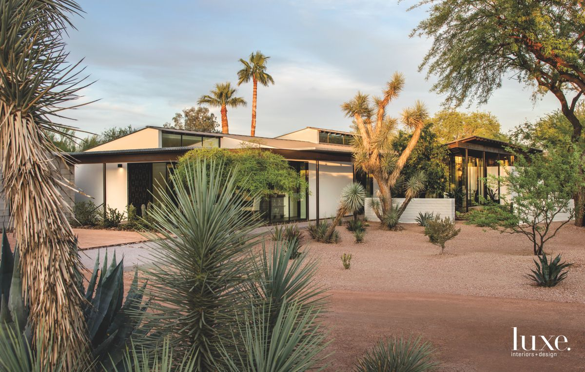 Warm Colored Ranch Style Stucco Modernist Home Exterior with Cacti