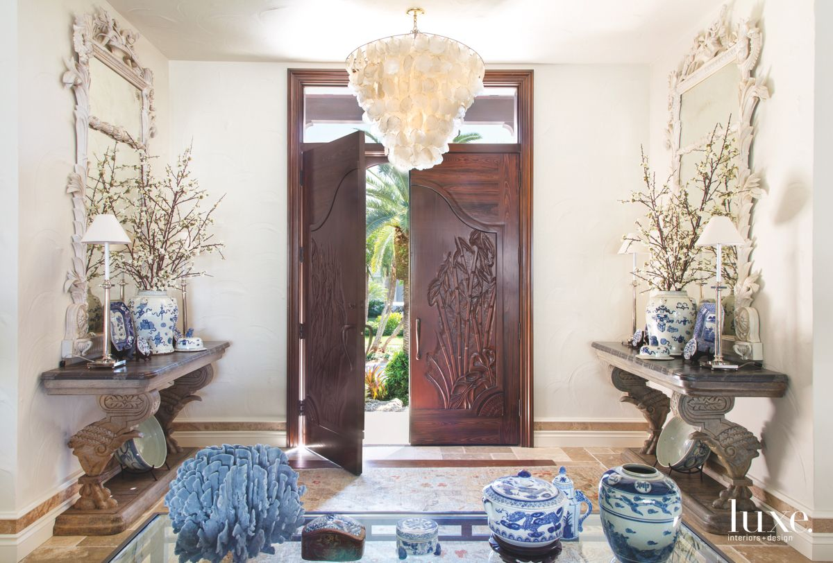 Capiz Shell Chandelier and Engraved Door Entryway