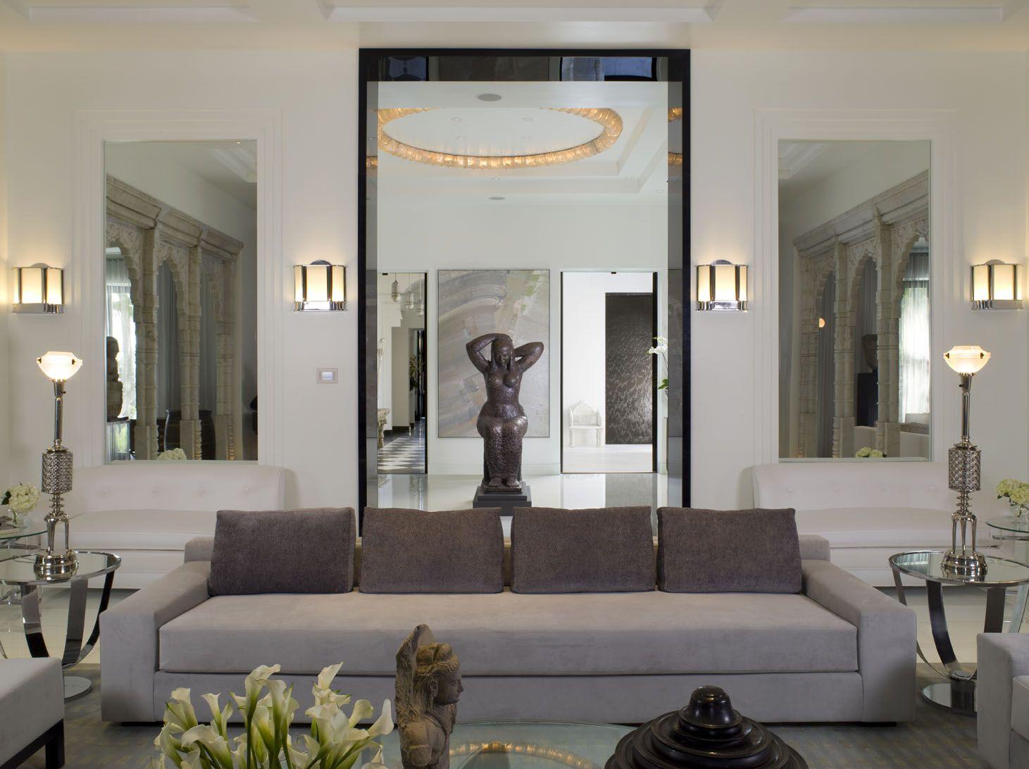 Modern Neutral Living Room with Custom Ultrasuede Sofa