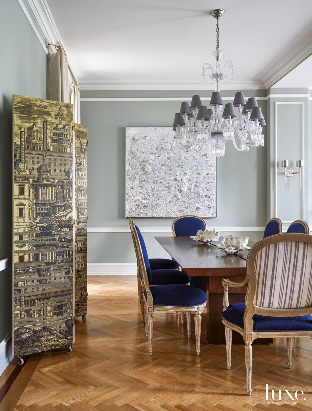 Contemporary Gray Dining Room with Cobalt Blue Chairs