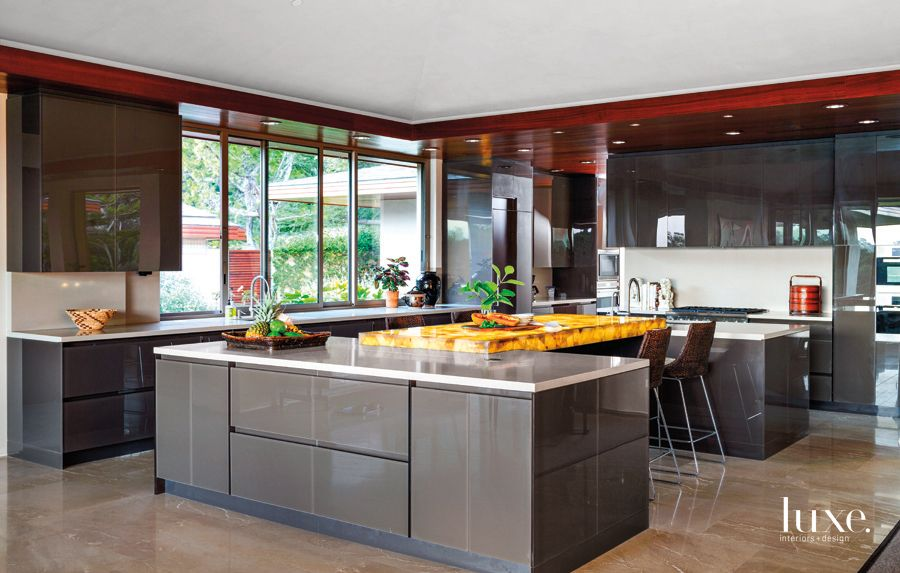 Contemporary Neutral Kitchen with Acrylic Cabinetry