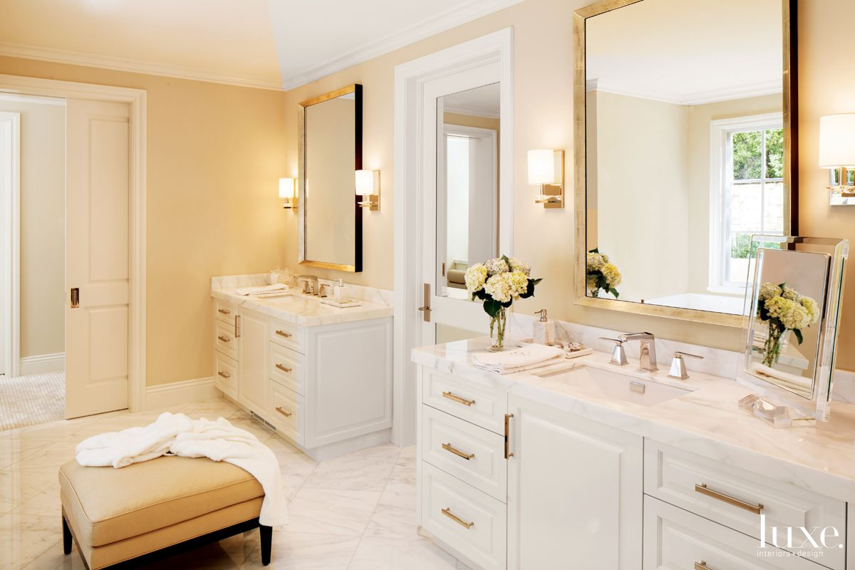Country White Bathroom with Nickel Sconces