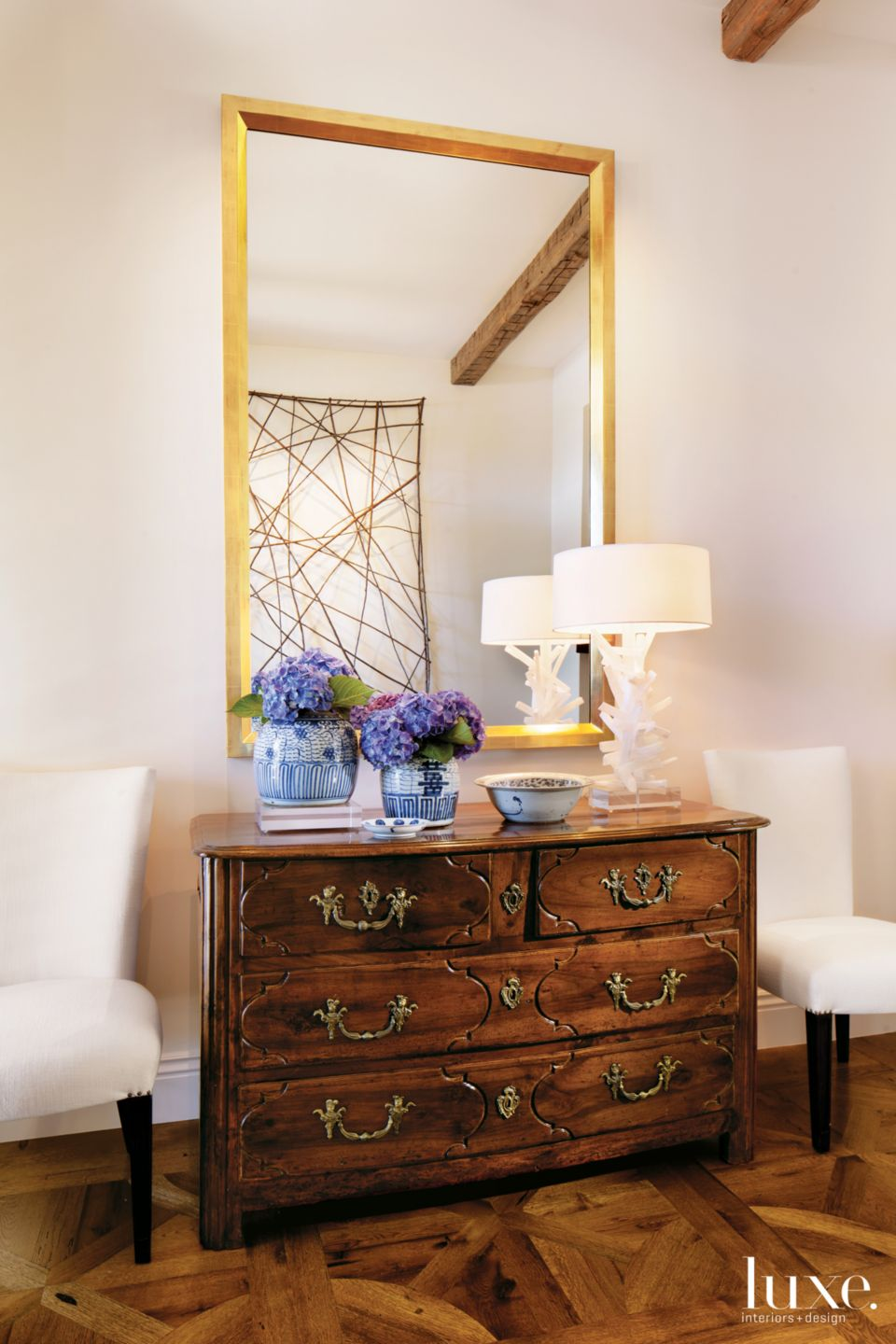 Country Cream Entry with French Walnut Commode