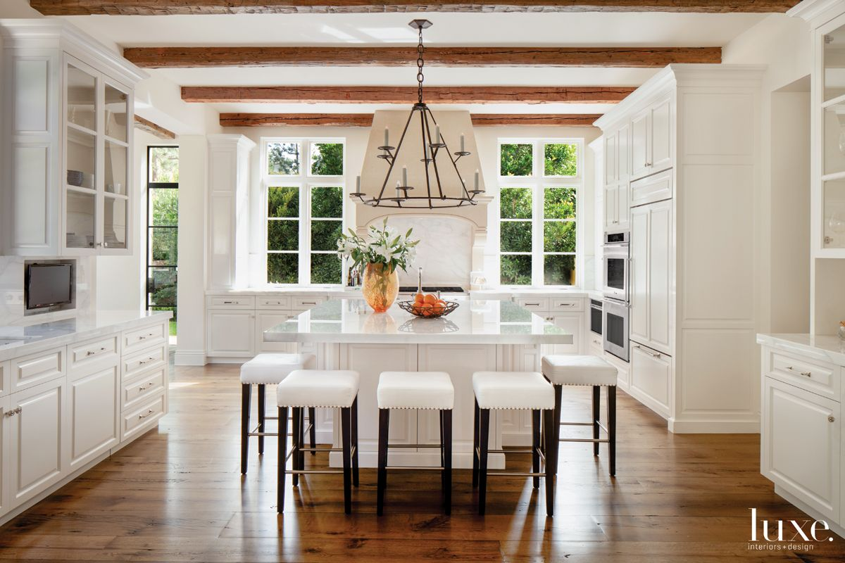 Country White Kitchen with White Leather Stools