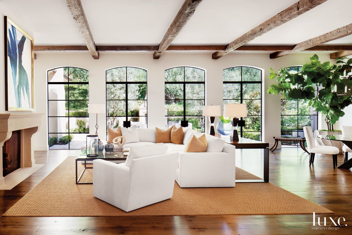 Country Cream Living Room with Antique Ceiling Beams