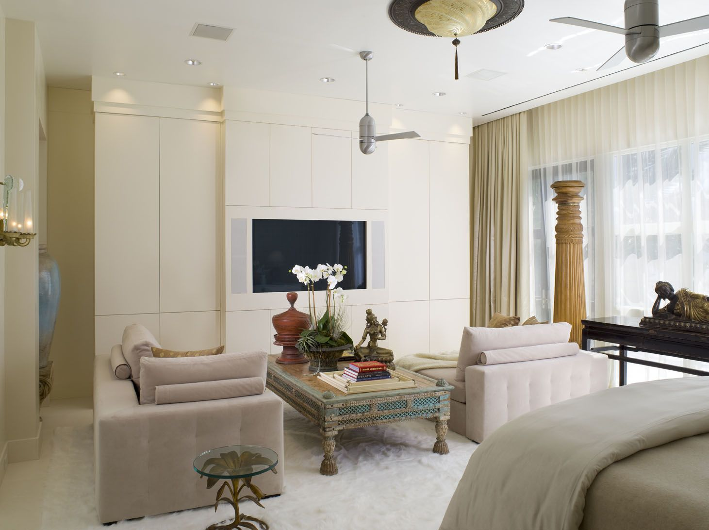Modern Neutral Bedroom Sitting Area with Antique Column