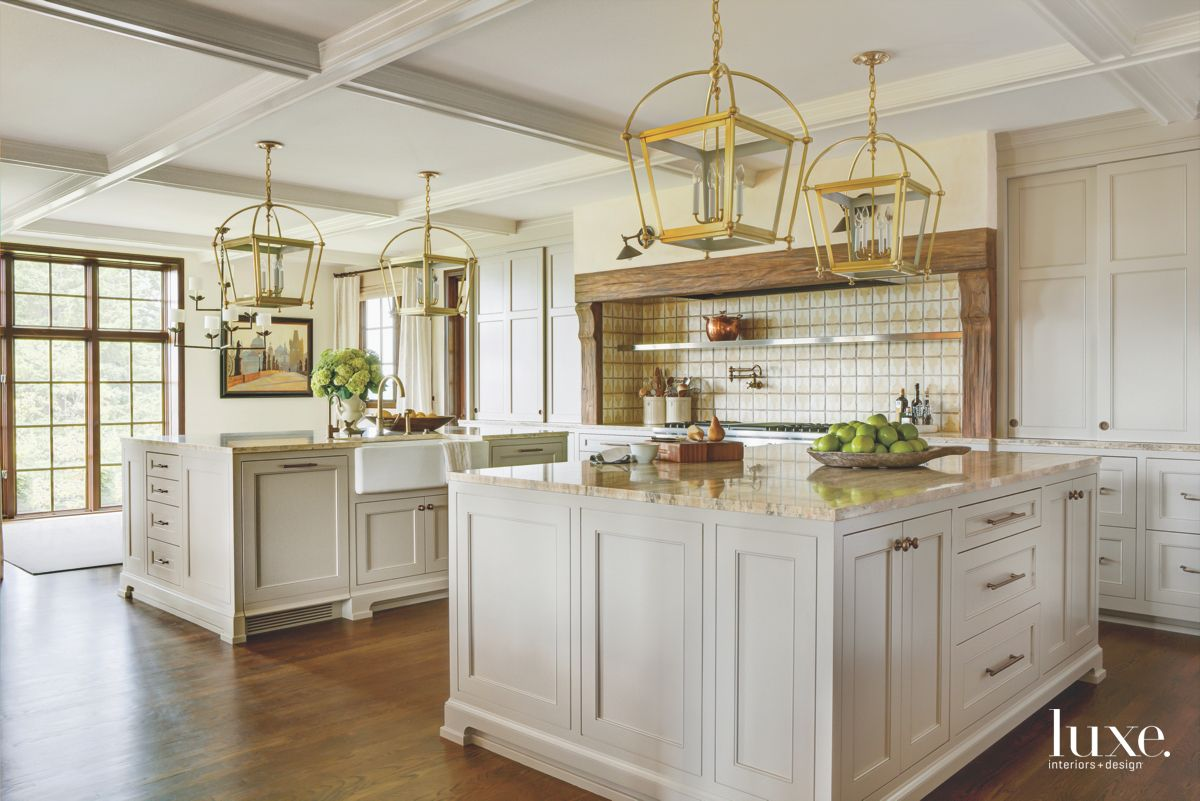 Neutral Lantern Light Kitchen with Off White Cabinets and Coffered Ceiling