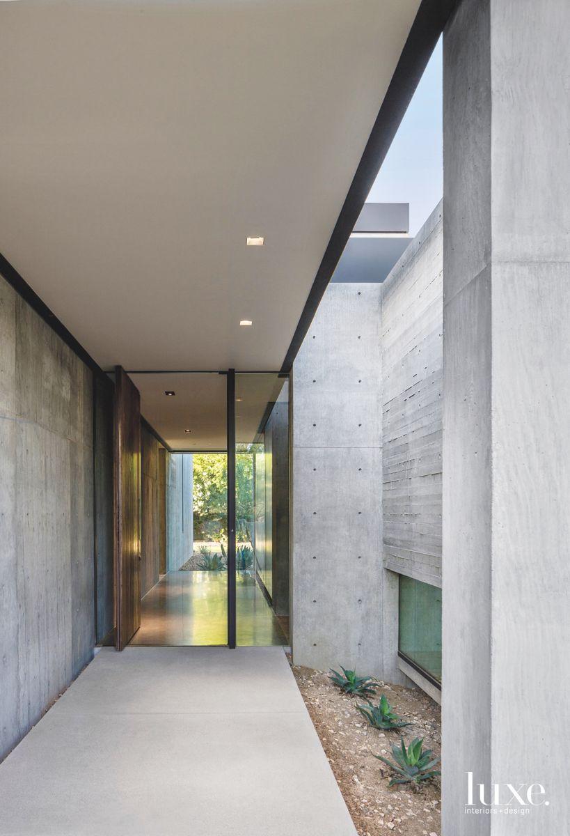 Floor to Ceiling Walnut Door in Paradise Valley Home