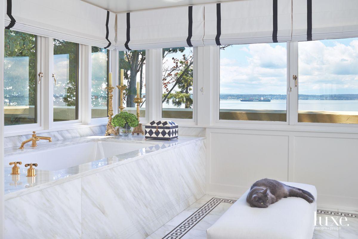 White Marble Master Bathroom with Floor Design