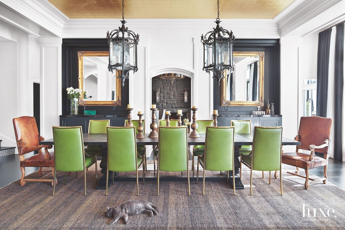 Throne Chairs, Chandeliers, Fireplace, and Modern Seating Dining Room