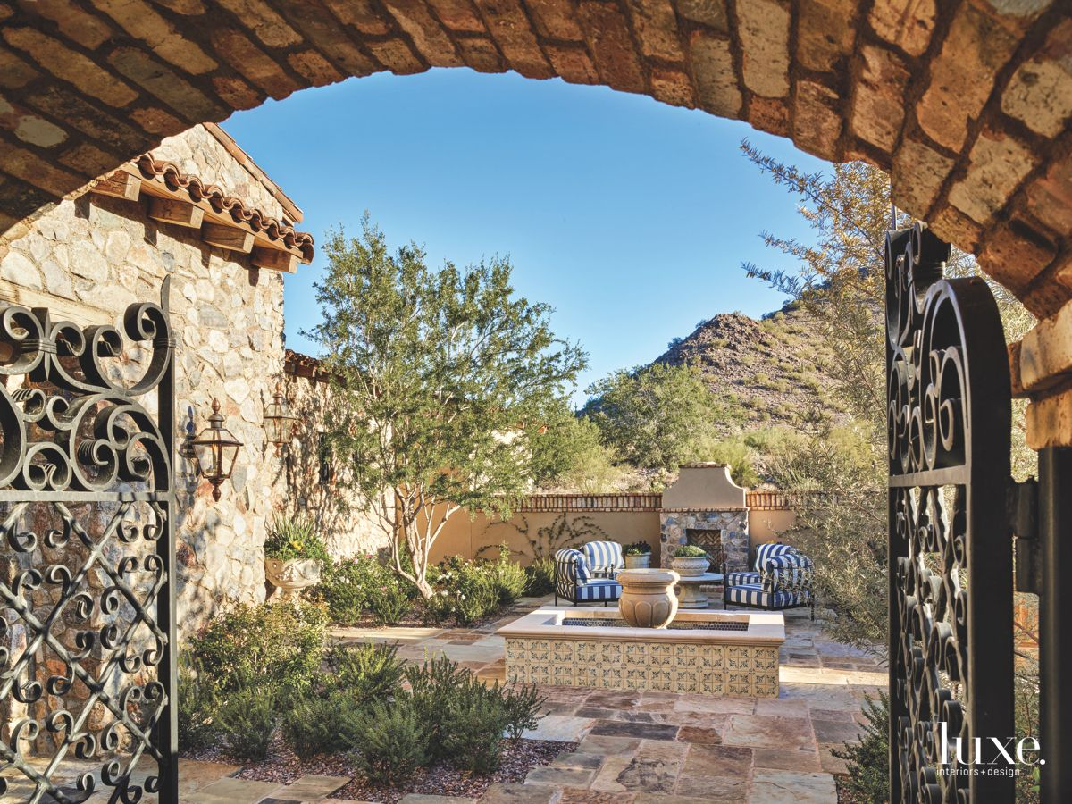 Arizona Mountain Background Outdoor Patio with Fireplace and Fountain