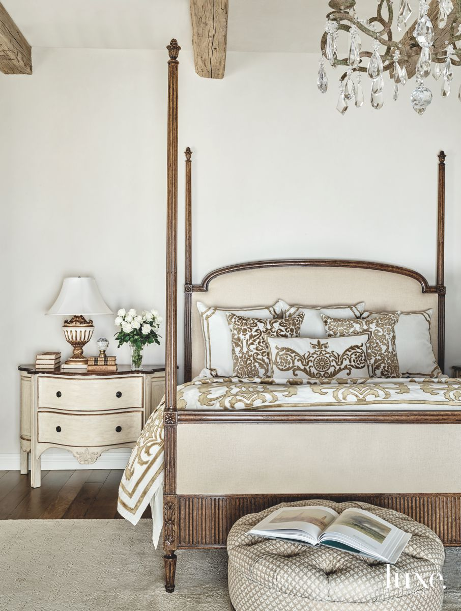 Simple and Neutral Master Bedroom with Crystal Chandelier and Nightstand