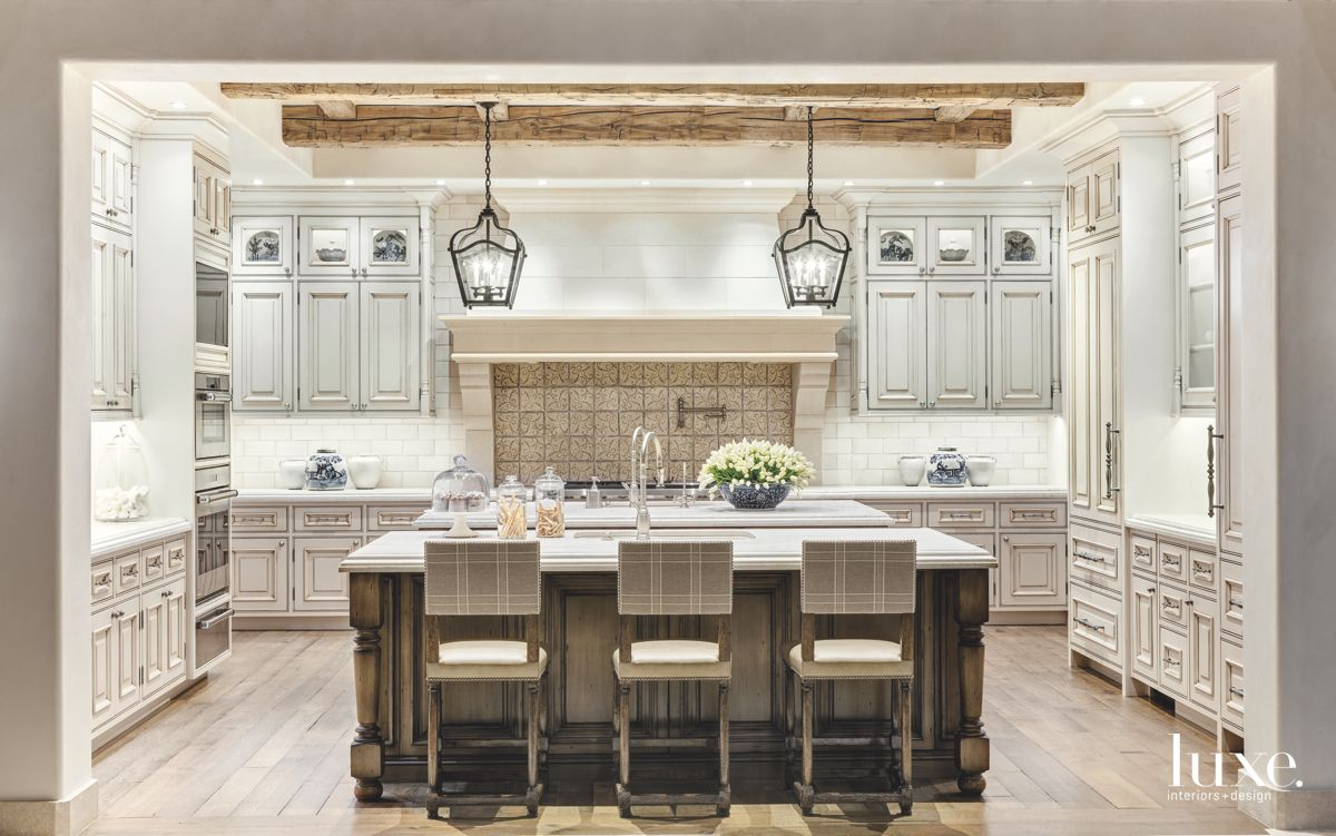 Traditional Rustic Arizona Kitchen with Lantern Lighting and Antique Looking Cabinets