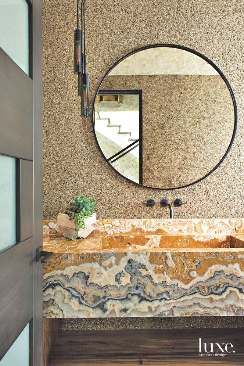 Powder Room Vanity with Repurposed Glimmering Stone