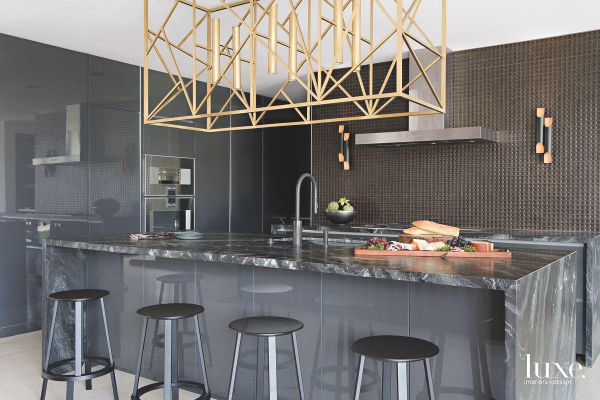 Brass Light Fixture Focal Point Dark Kitchen