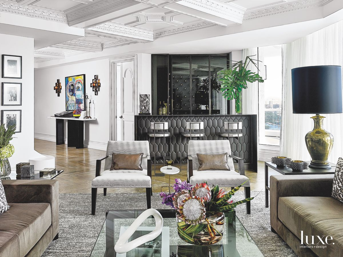 Chanel-Inspired Bar in the Living Room