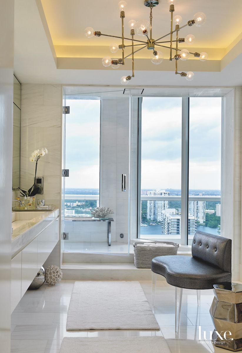 Master Bathroom with View and Modern Chandelier