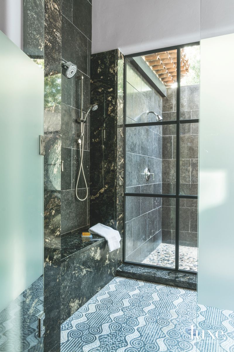 Sand Blasted Glass with Marble and Tile Flooring
