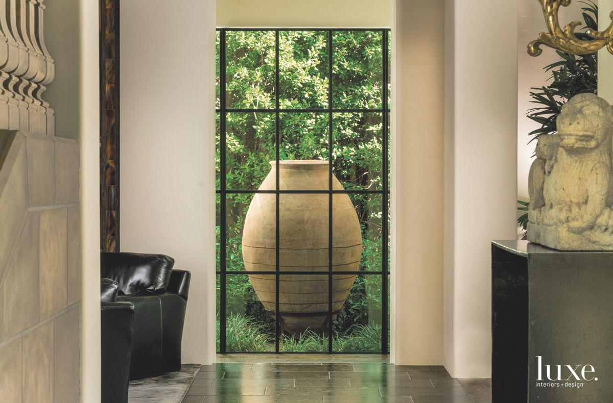 Large Spanish Urn View from Hallway with Sculpture