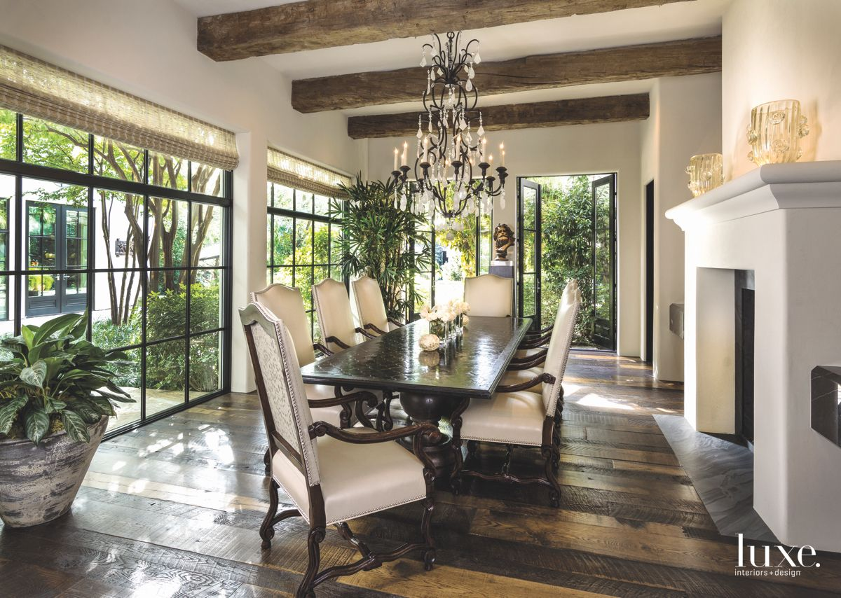 Courtyard View Formal Dining Room with Fireplace and Bamboo Plant