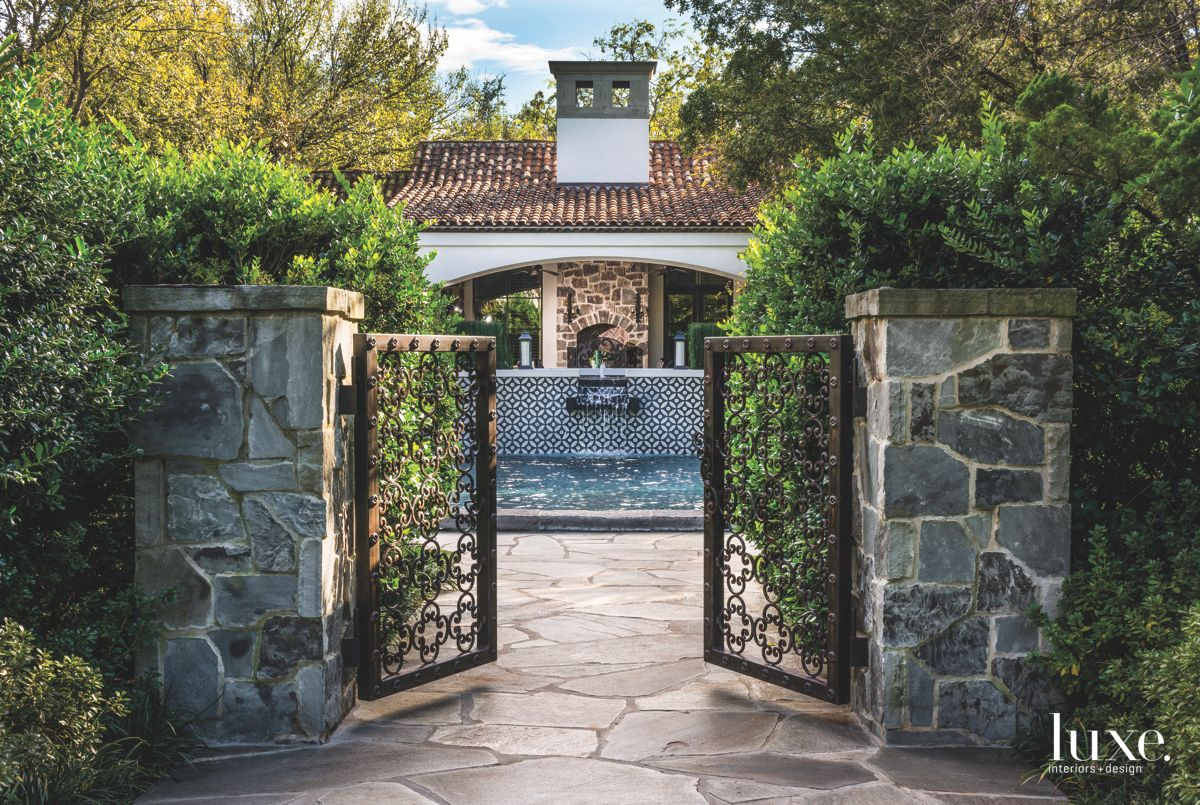 Hand-Crafted Stone Gate with Pool and Water Feature